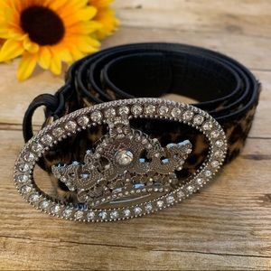 Leopard print belt w/ crystal crown buckle is NWT